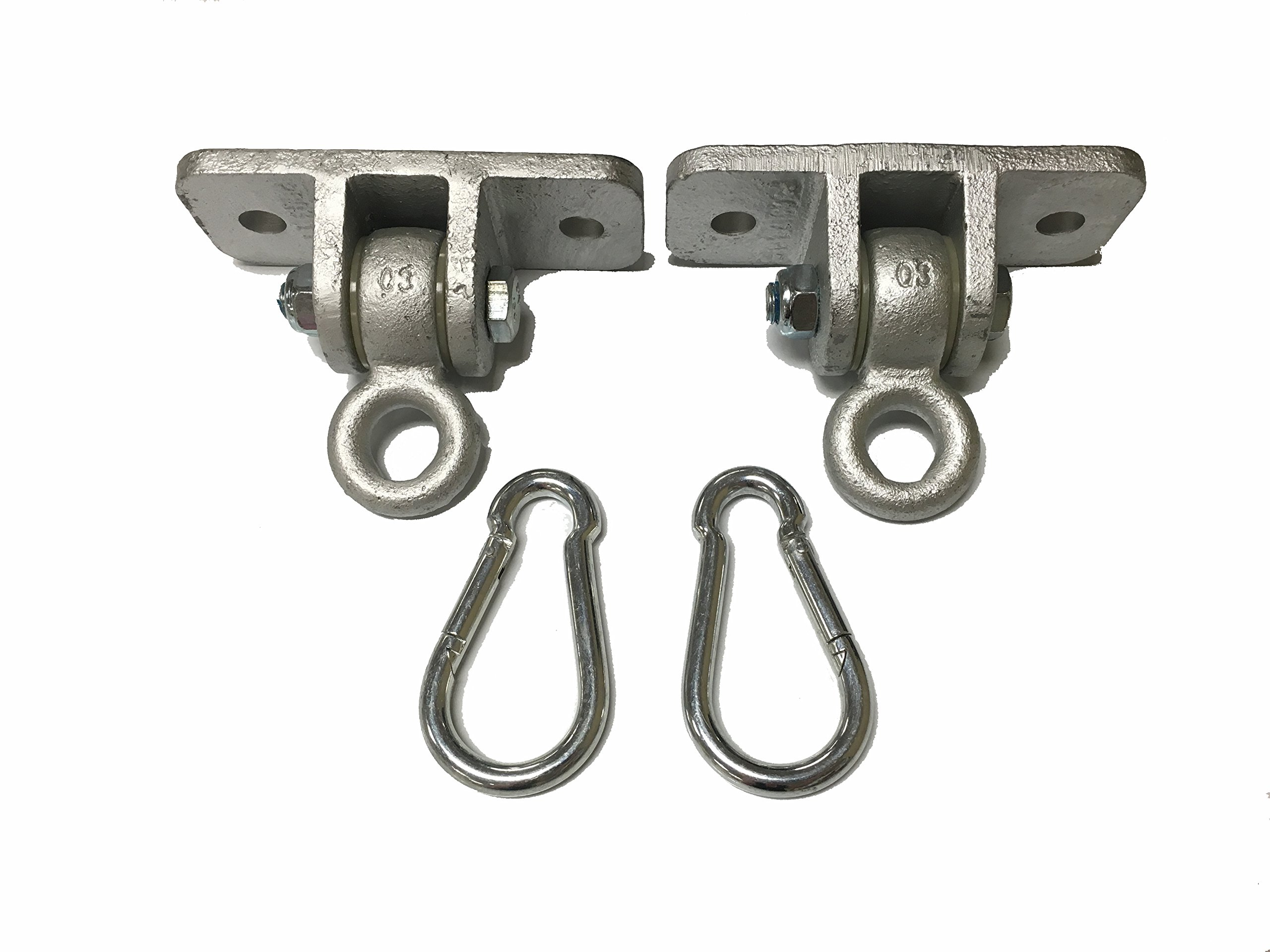 Set of 2 Commercial Swing Hangers Galvanized to Attach to Wooden Beams - Now Includes Bonus Hanging Snap Hooks (Carabiners)