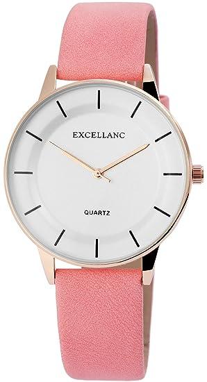 Reloj mujer Blanco Rosa Oro analógico de cuarzo piel Reloj de pulsera