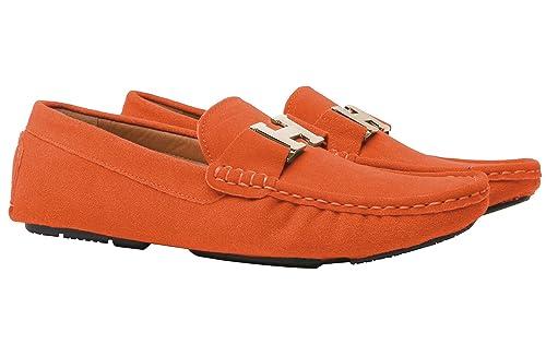 Santimon Mocassini Scarpe Barca Da Uomo Moda Slip On Casuale Scarpe con  Argento Fibbia Arancione 39 482a08c0200