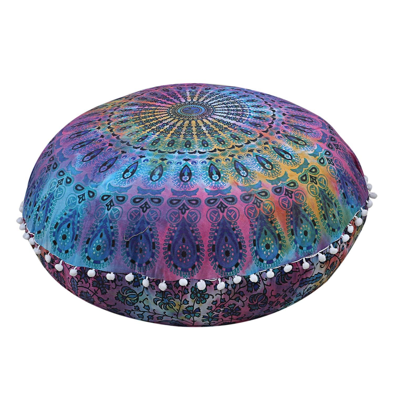 Shubhlaxmifashion 22 Red Mandala Round Floor Pillow Cover Cushion Meditation Seating Ottoman Throw Cover Hippie Decorative Zipped Bohemian Pouf Pom Pom Pillow Case