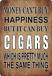 Rogue River Tactical Funny Sarcastic Metal Tin Sign Wall Decor Man Cave Bar Money Happiness Cigars