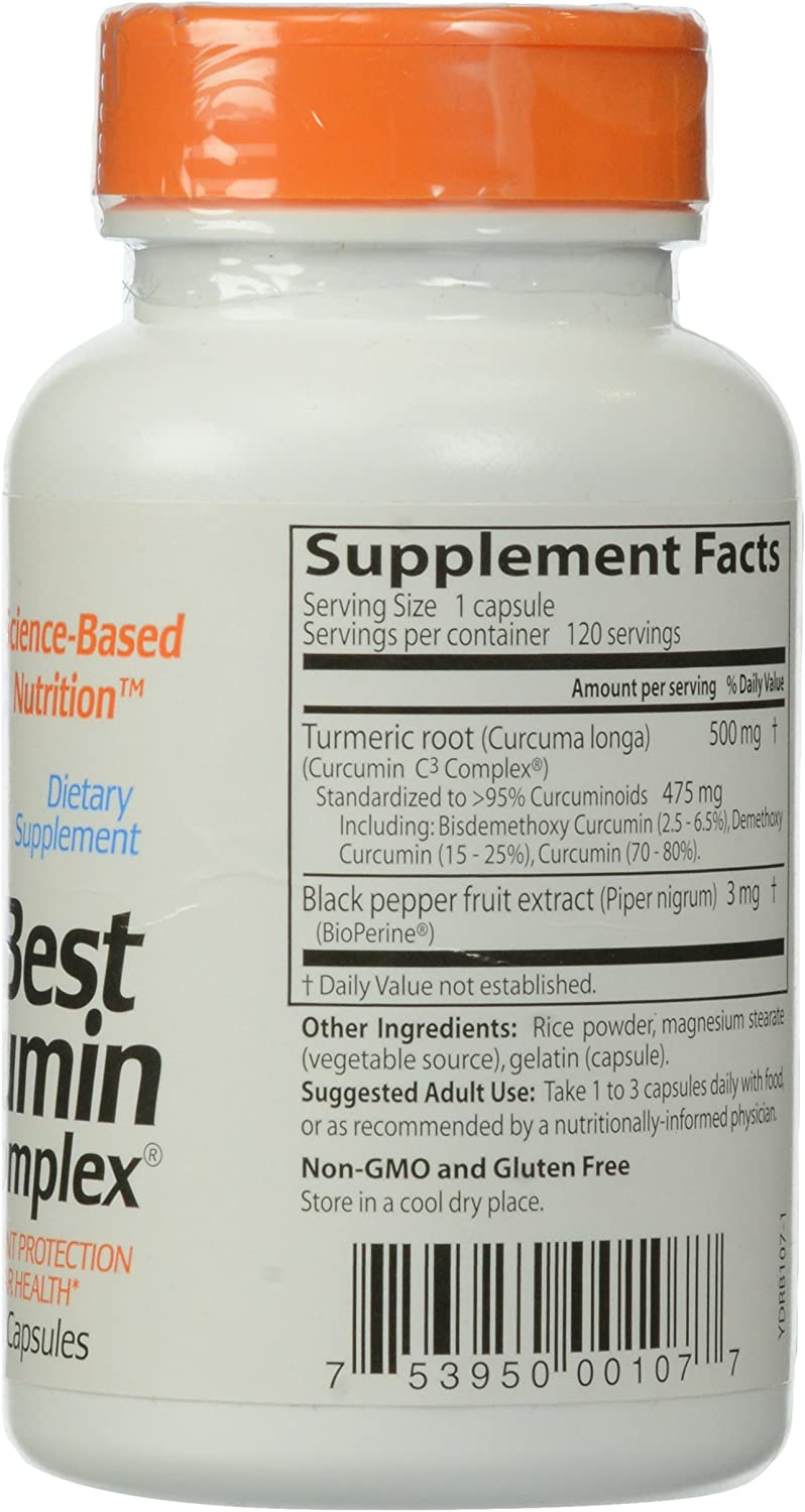 Doctor s Best Curcumin C3 Complex with BioPerine Capsules, 500 mg, 120 Count