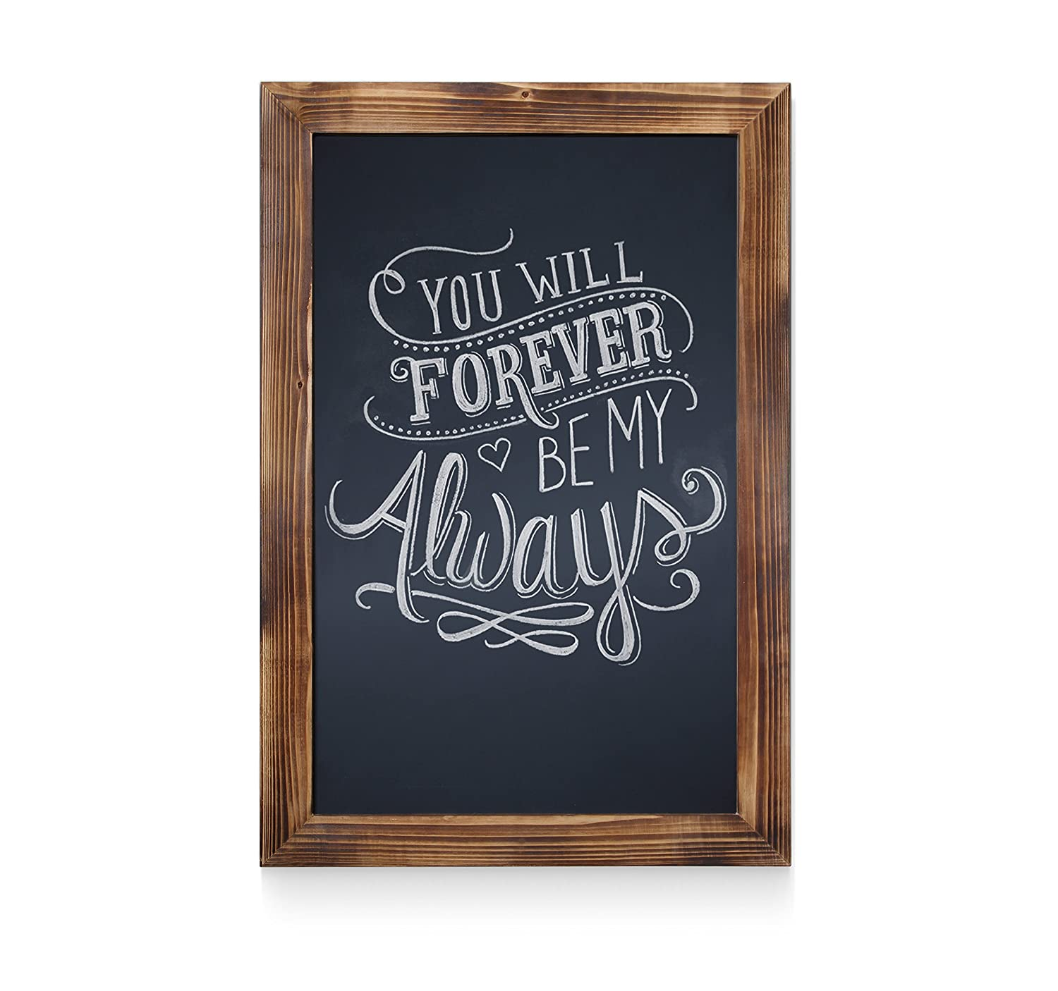 HBCY Creations Rustic Torched Wood Magnetic Wall Chalkboard, Small Size 11