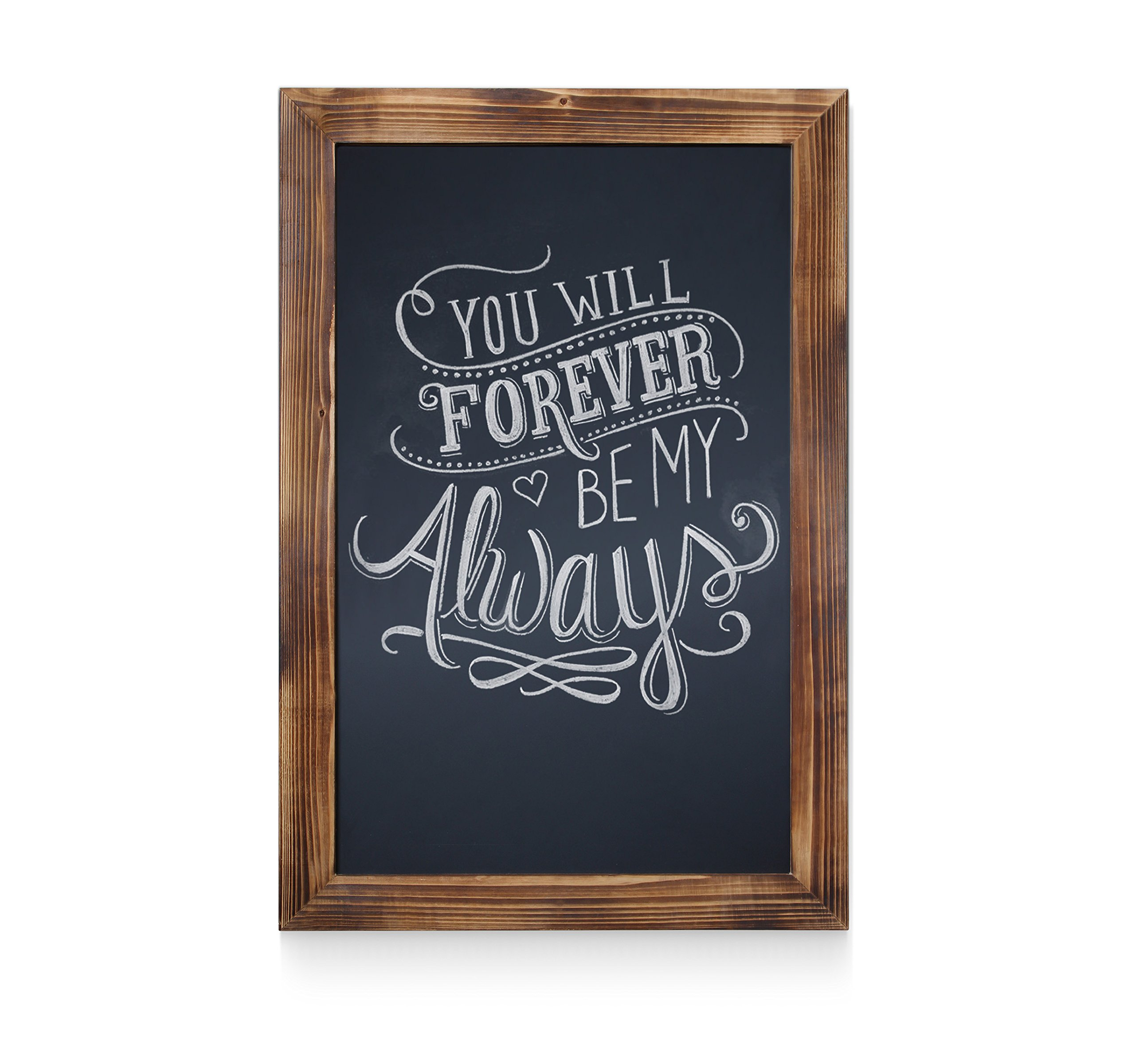 HBCY Creations Rustic Torched Wood Magnetic Wall Chalkboard, Extra Large Size 20'' x 30'', Framed Decorative Chalkboard - Great for Kitchen Decor, Weddings, Restaurant Menus and More! … (20'' x 30'')