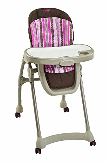 Evenflo Right Height High Chair, Pink Georgia Stripe (Discontinued By  Manufacturer)