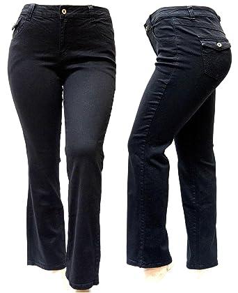 c1542efe478 Jack David Women s Plus Size Blue Black Curvy Stretch Flap Pocket  Skinny Bootcut Denim