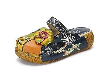 Sandalias de Mujer, Popoti Sandalias de Cuero Zapatillas Mocasines Chanclas de Verano Zapatillas de Flores Vintage Zapatillas de Chanclas Tacón De Cuña de ...
