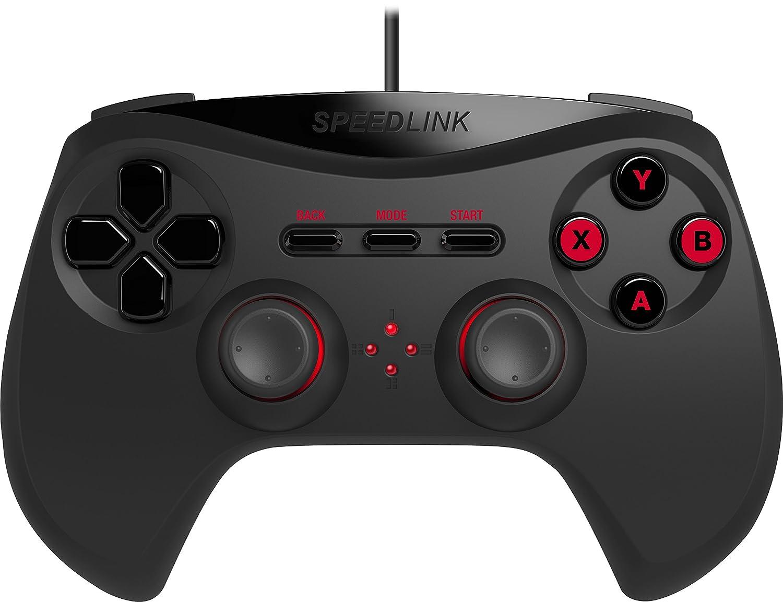 Speedlink Strike NX kabelloses Gamepad fü r PC (bis zu 8 Stunden Spieldauer, X-Input und Direct-Input, Vibrationsfunktion) schwarz SL-650100-BK