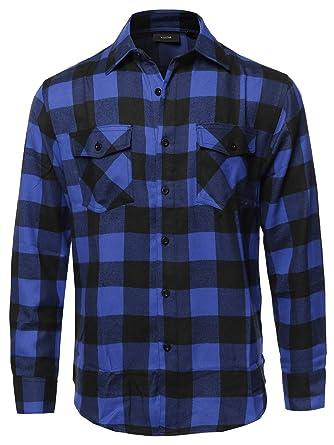 ceb507f3b5 Youstar Men's Plaid Flannel Long Sleeves Button Closure Shirt at ...
