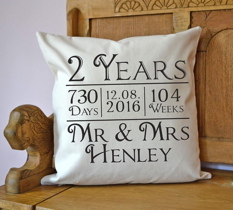 Personalised 2nd Anniversary Cushion Cotton Anniversary Gift Amazon Co Uk Handmade