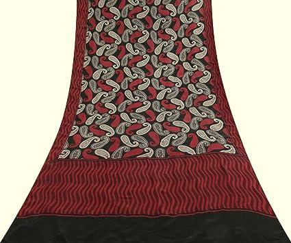 Vintage Paisley Impreso Crepe de Seda Vestido de Sari Sari Negro Hacer Craft Tela