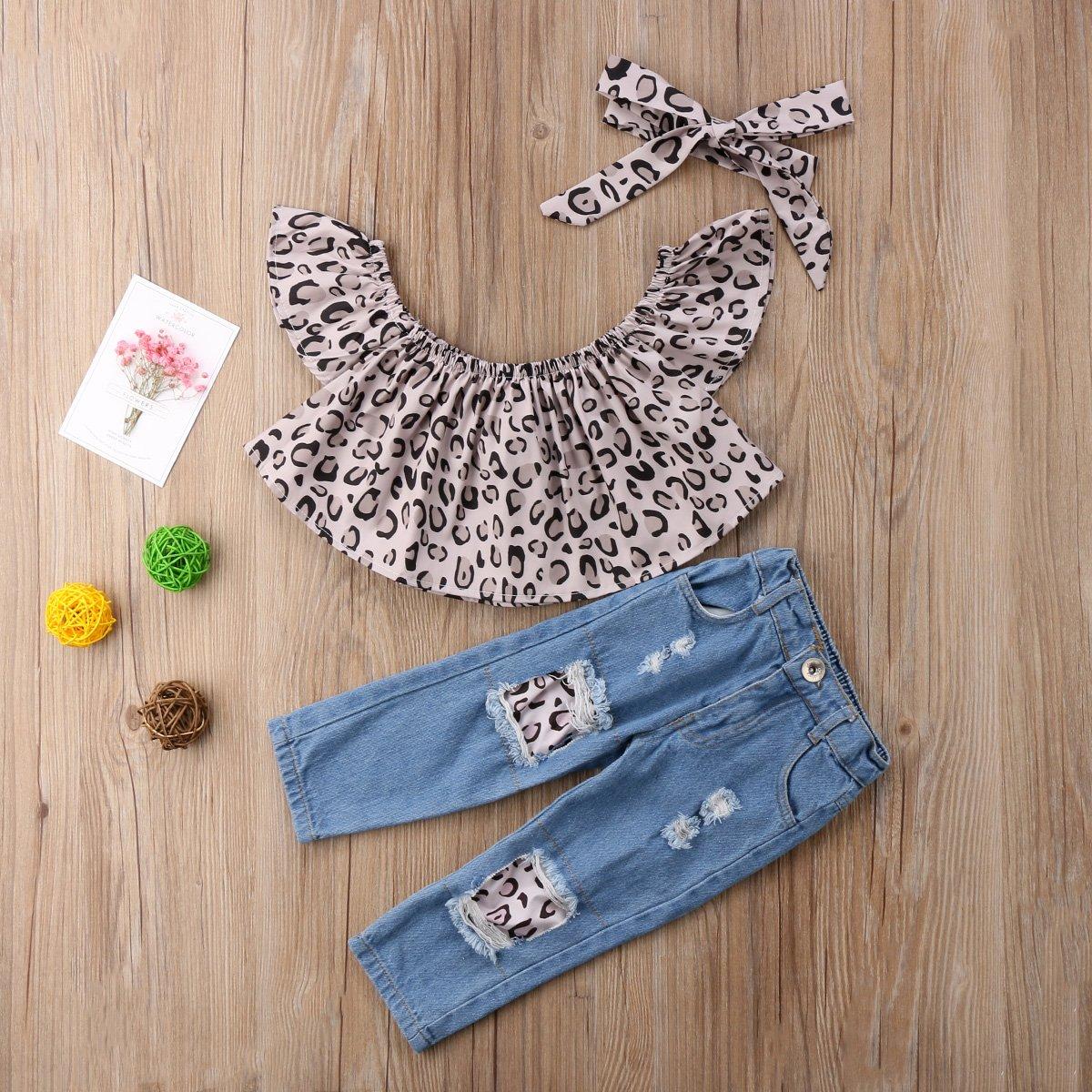 Kehen Kid Toddler Baby Girl Summer Outfits Ruffles Sunflower T-Shirt+Denim Stretch Jeans Destroy Ripped Shorts+Headband