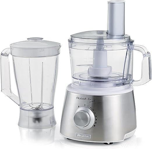 Ariete Robomix Metal 800W 2.1L Plata - Robot de cocina (2,1 L, Plata, Giratorio, De plástico, 800 W, 1500 W): Amazon.es: Hogar