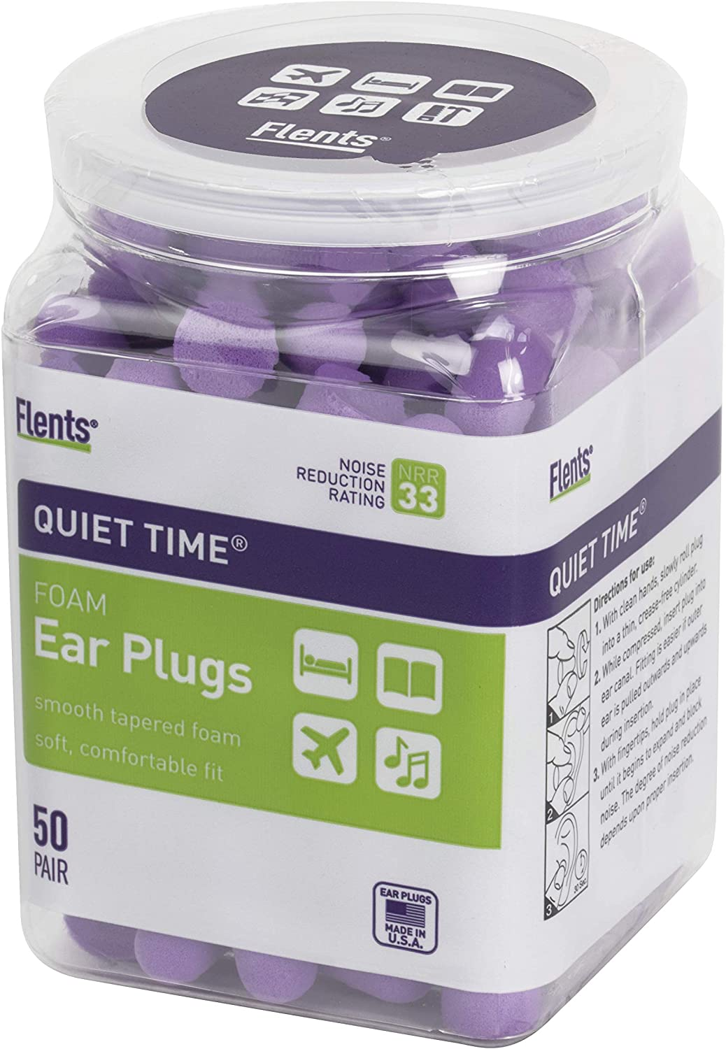 Flents Ear Plugs, 50 Pair, Ear Plugs for Sleeping, Snoring, Loud Noise, Traveling, Concerts, Construction, & Studying, NRR 33: Health & Personal Care