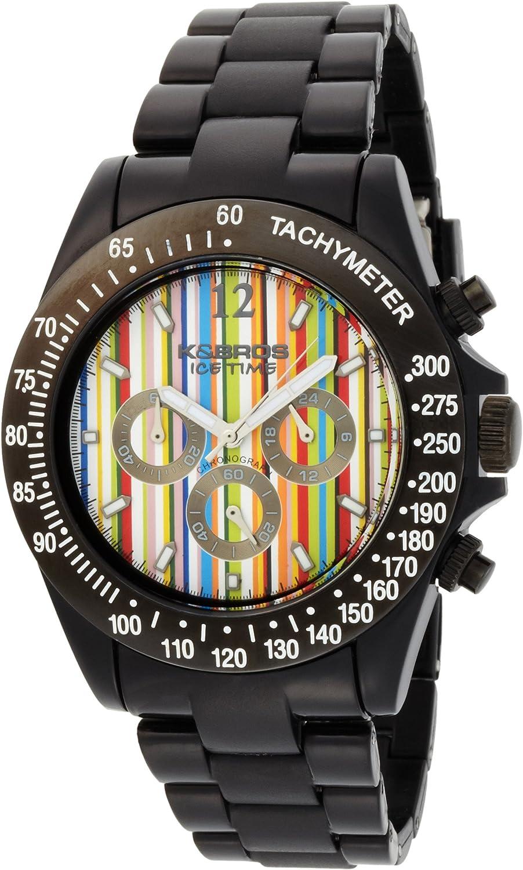 K BROS Men s 9517-2 Ice-Time Racing Chronograph Paul Stripe Watch