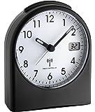 TFA Analoger Funk-Wecker mit digitaler Sekundenanzeige 98.1040.01, Kunststoff, Schwarzweiß