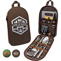 13 PC Grilling and Cooking Utensils for The Outdoors Barbeque - High Grade Stainless Steel Camping Kitchen Cookware Grill Tool Set with Stylish Crossbody Carrying Bag - Heat Resistant Handle Utensils
