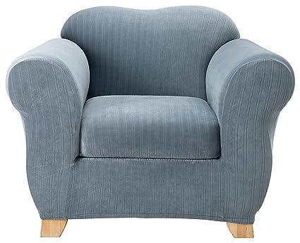 Amazoncom Surefit Stretch Pinstripe 2 Piece Chair Slipcover