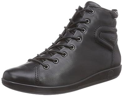 Ecco Soft 2.0 - Zapatos con Cordones de Cuero, Mujer, Negro (Black with Black SOLE56723), 37