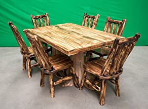 Midwest Log Furniture - Premium Log Dining Table 40x60 and 6 Chairs