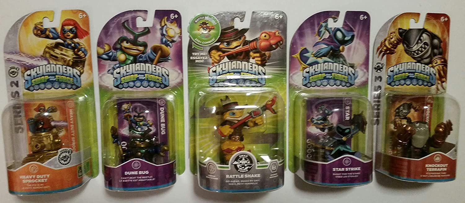 (5) Skylanders Swap Force Action Figures Bundle : Rattle Shake , Dune Bug , Star Strike , Knockout Terrafin and Heavy Duty Sprocket