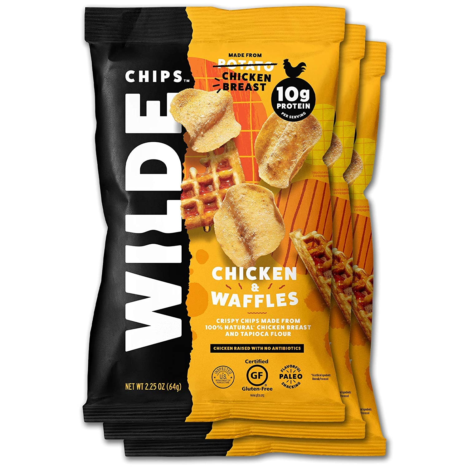 Chicken and Waffles Chicken Chips by Wilde Chips, Made with Real Chicken, 2.25oz Bag (3 Count)