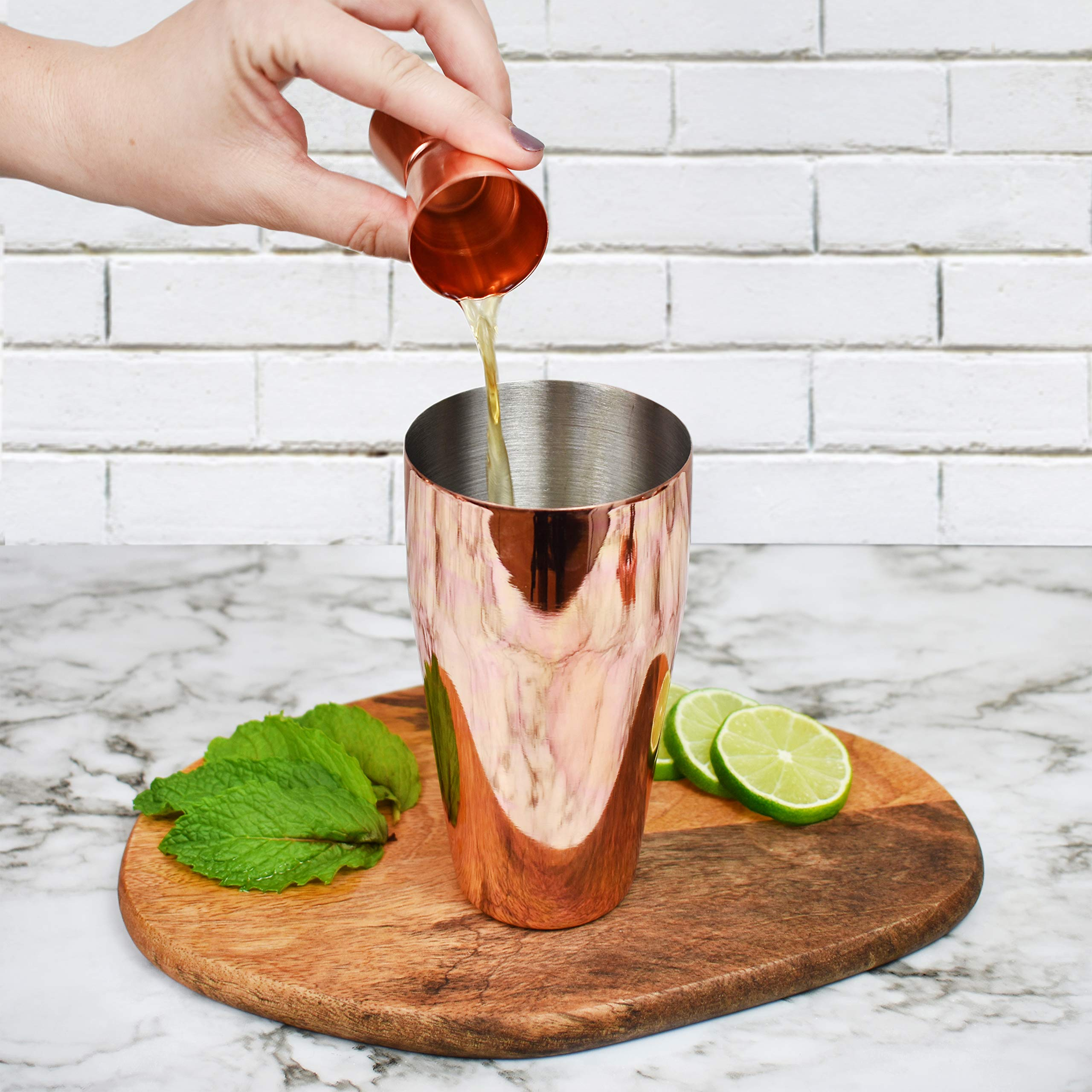Bartender Kit Copper 11 Piece - Copper Parisian Cocktail Mixology Set - Rose Gold Shaker With Muddler, Pourers, Strainer & Twisted Bar Spoon by J&A Homes (Image #5)