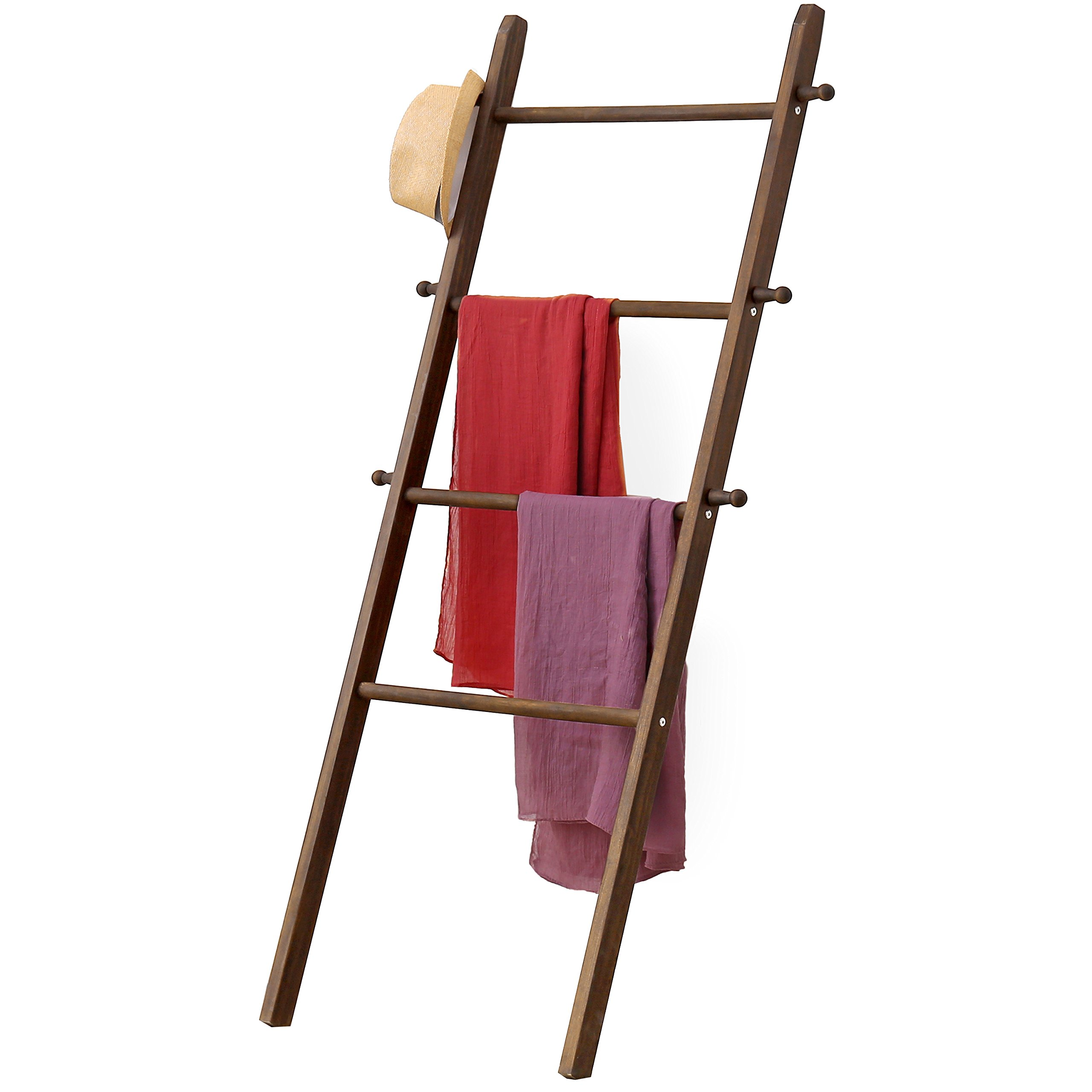 MyGift 5-Foot Wall-Leaning Wood Garment Ladder-Style Wall Rack
