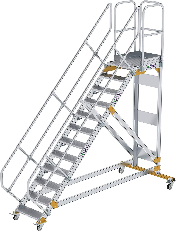 GÜNZBURGER STEIGTECHNIK Escalera de plataforma de aluminio, móvil, 45°, 600x12: Amazon.es: Bricolaje y herramientas
