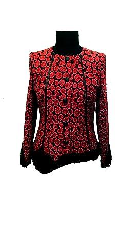 Damenjacke rot schwarz