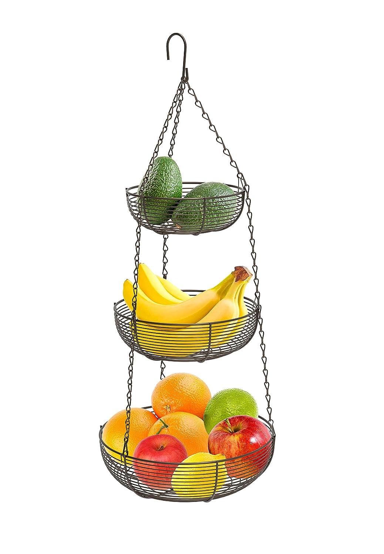 CAXXA 3-Tier Hanging Basket Fruit Organizer Kitchen Heavy Duty Wire Organizer with 2 Free Bonus Metal Ceiling Hooks(Bronze)