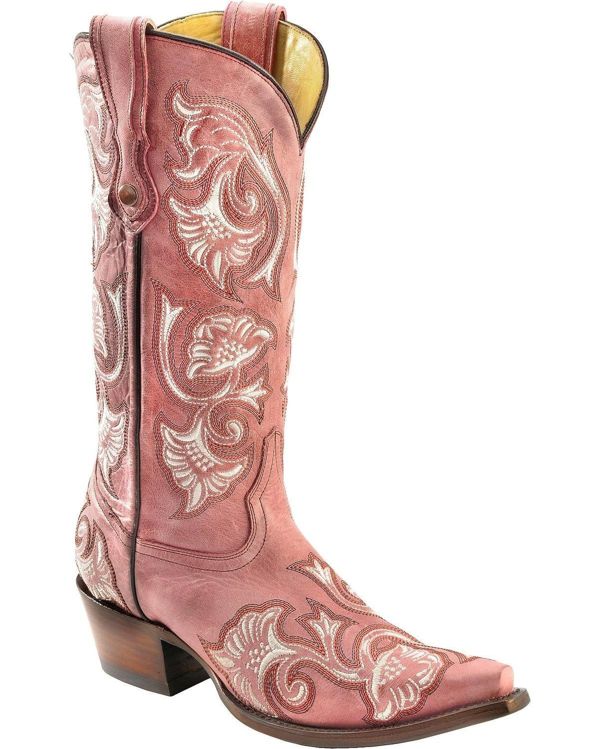 CORRAL Women's Floral Embroidered Cowgirl Boot Snip Toe - G1087 B071KXP22R 6.5 M US|Pink