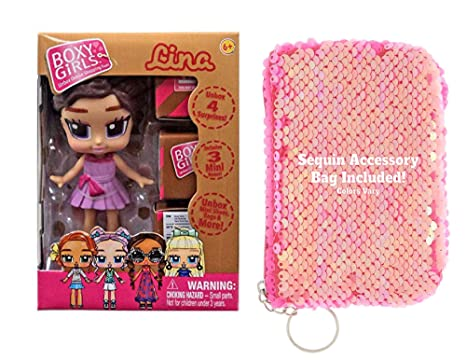 0763295678d Amazon.com  Ropeastar Boxy Girl Mini Doll Sequin Bag Set