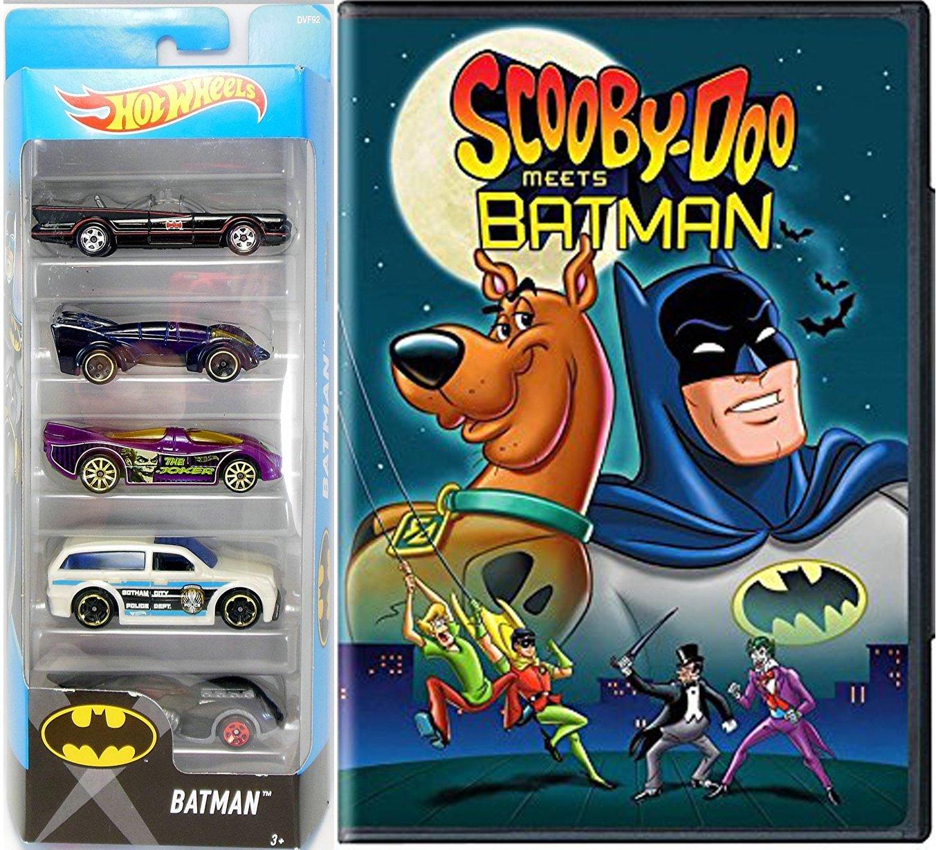 Scooby-Doo Meets Batman Cartoon DVD car set & Hot Wheels 5 car City Pack Batmobile Classic TV series / Gotham City Police Car / The Joker / Live / Arkham Asylum