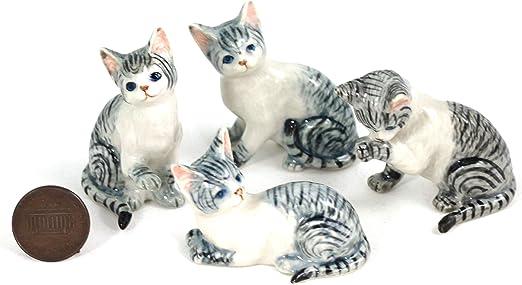 4 gris tigre gatos/de gatitos y animales en miniatura de cerámica pintada a mano (2) : Amazon.es: Hogar