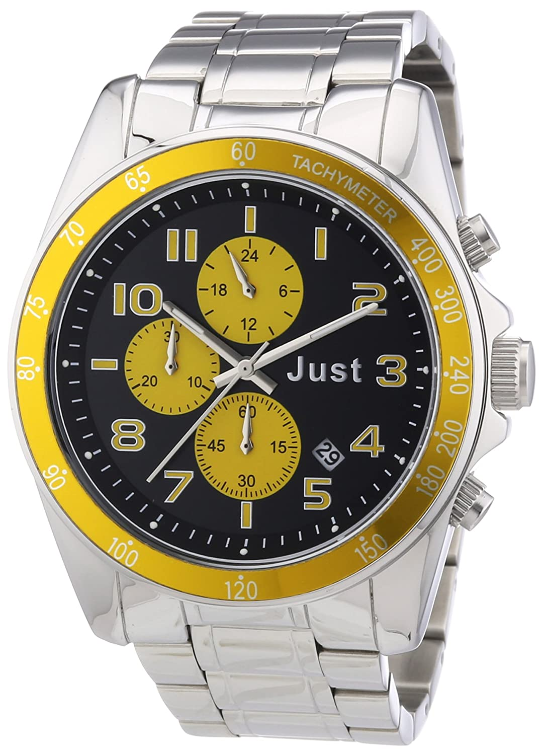 Just Watches 48-S1230-YL - Reloj analógico de cuarzo unisex, correa de acero inoxidable color plateado