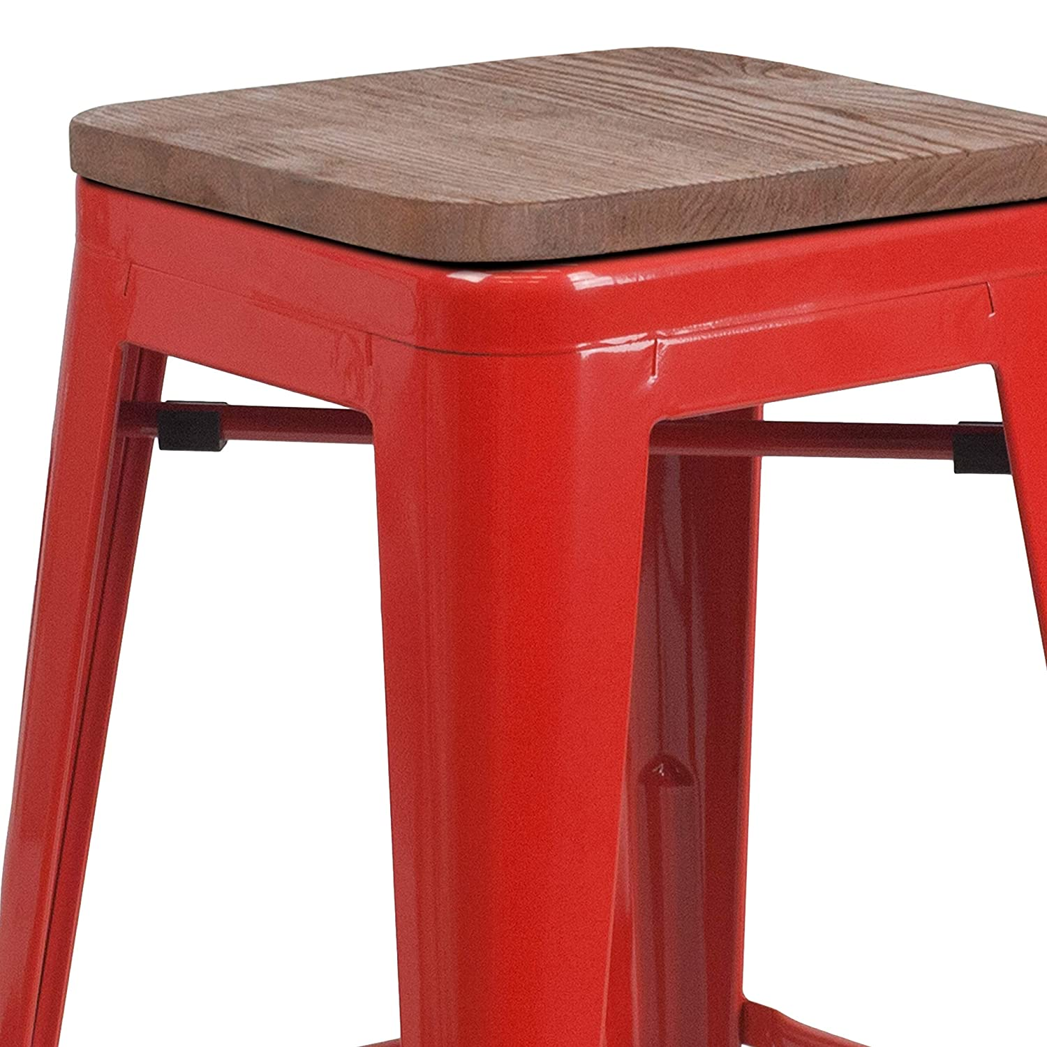 Taylor Logan 4 Pk. 24 High Backless Red Metal Counter Height Stool with Square Wood Seat