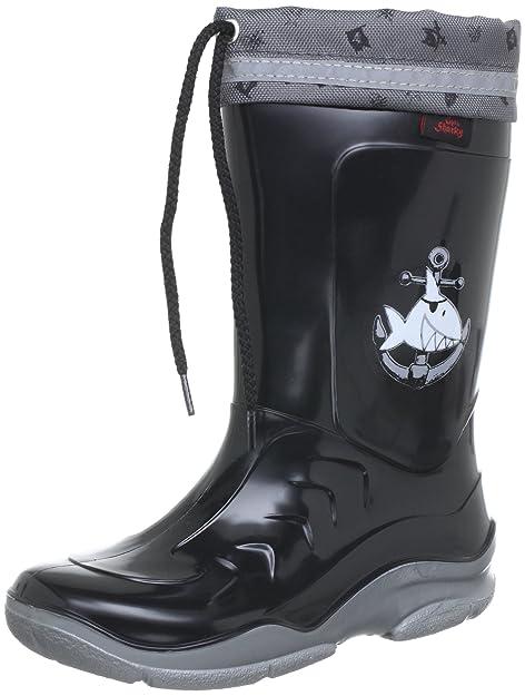Captn Sharky Michael - Botas de agua de niños sin cordones, Negro (