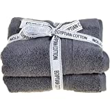 Allure Bath Fashions Egyptian Cotton Towels 2 Pack Hand Towel Bale 90 x 50cm Supersoft SPA Towel in Grey/Charcoal (2x Hand Towels, Charcoal)