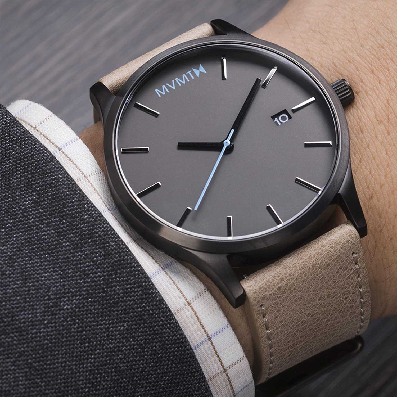 mvmt - Reloj Classic para hombre Gumetal/Arena de piel mm01gml: Amazon.es: Relojes