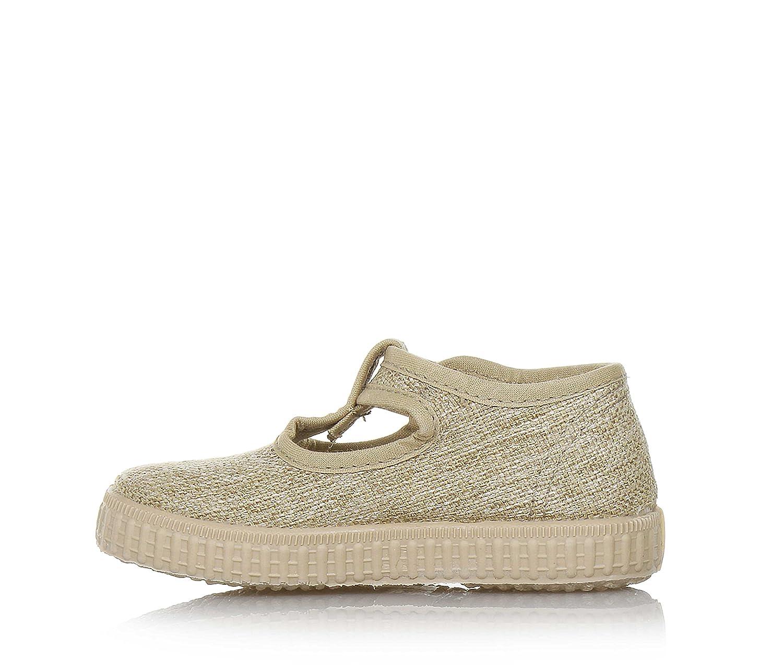 Cienta Goldener Schuh Aus Stoff, Made in Spain, mit regulierbarem Schnallenverschluss, Seitlich Ein Etikett mit Logo, Mädchen-30