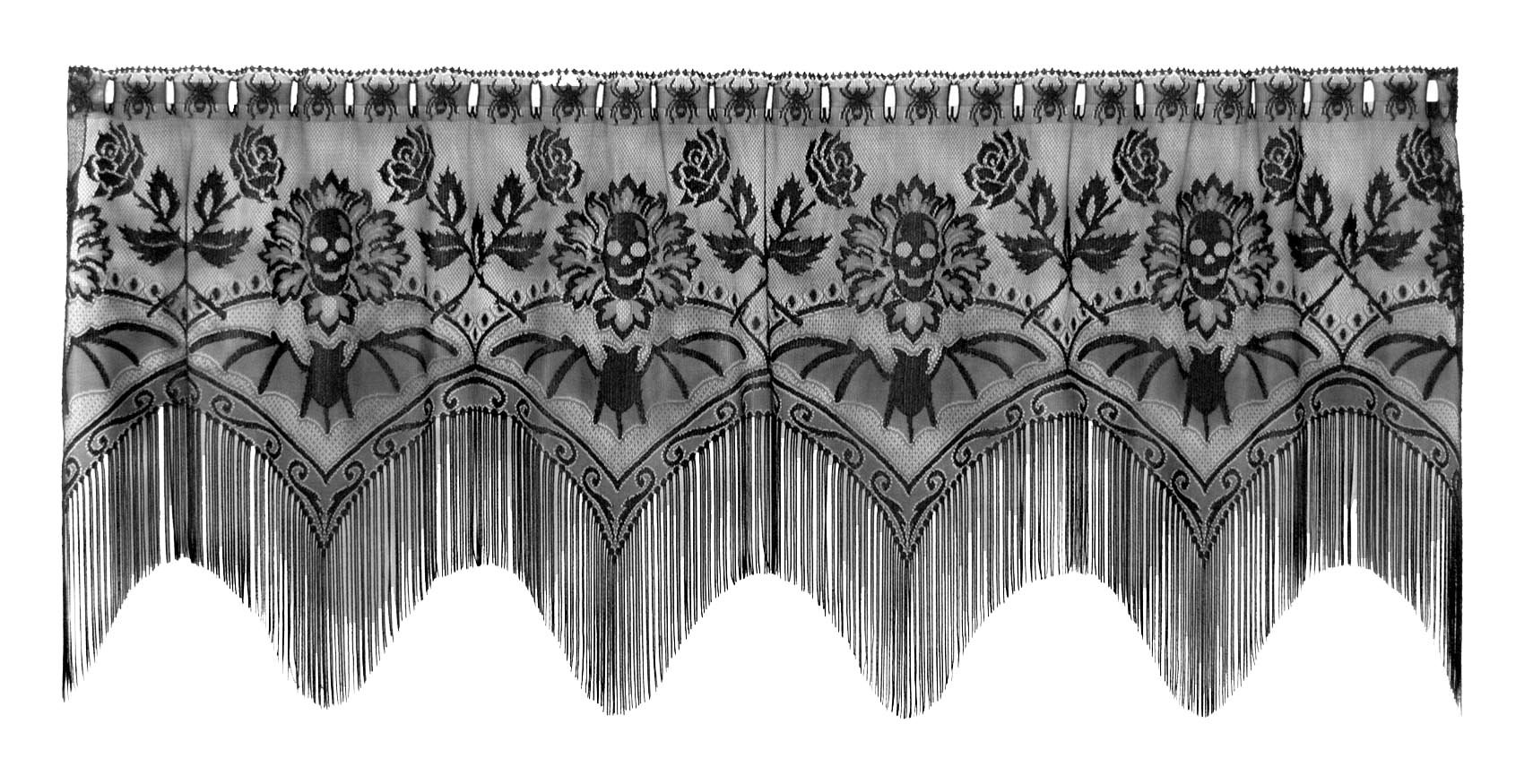 Heritage Lace Gothic Black Lace Halloween Gala 4 Way, Mantle Scarf, Lampshade Topper, Window