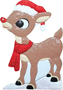 Product Works 24-Inch Holiday Décor Rudolph Metal Christmas Decoration, Red Nose Reindeer