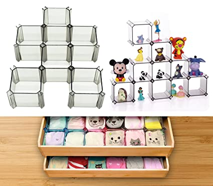 Case Wonder 6 Pieces Crystal Clear Plastic Drawer Dividers Closet Organizers Bra Underwear Baby Clothes Lingerie Socks Tie Storage Boxes Toy Doll