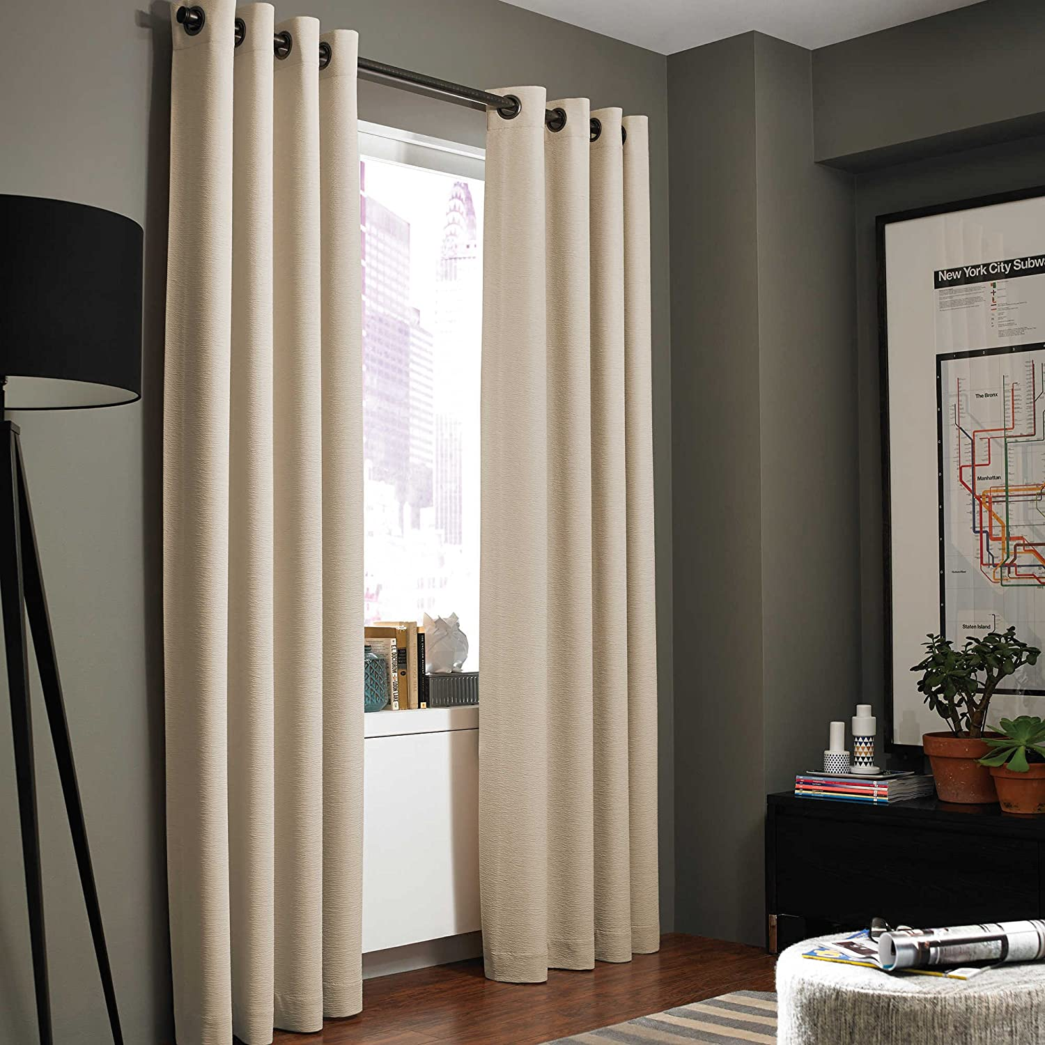 Kenneth Cole Reaction Home Gotham Texture 95 Inch Lined Grommet Window Curtain Panel in Hemp