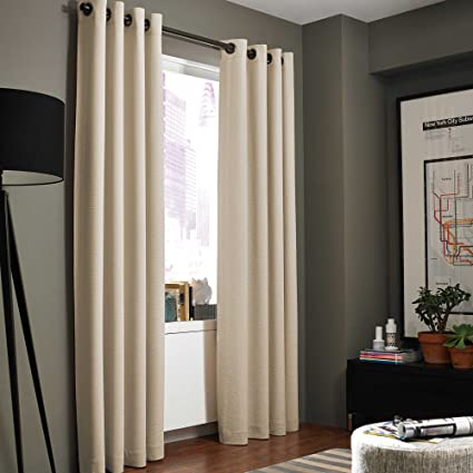 Kenneth Cole Reaction Home Gotham Texture Lined Grommet 95 Inch Window  Curtain Panel In Hemp