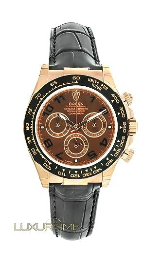 Rolex Daytona – Reloj Rose Gold para hombre chocolate Dial Negro Correa de piel 116515 –