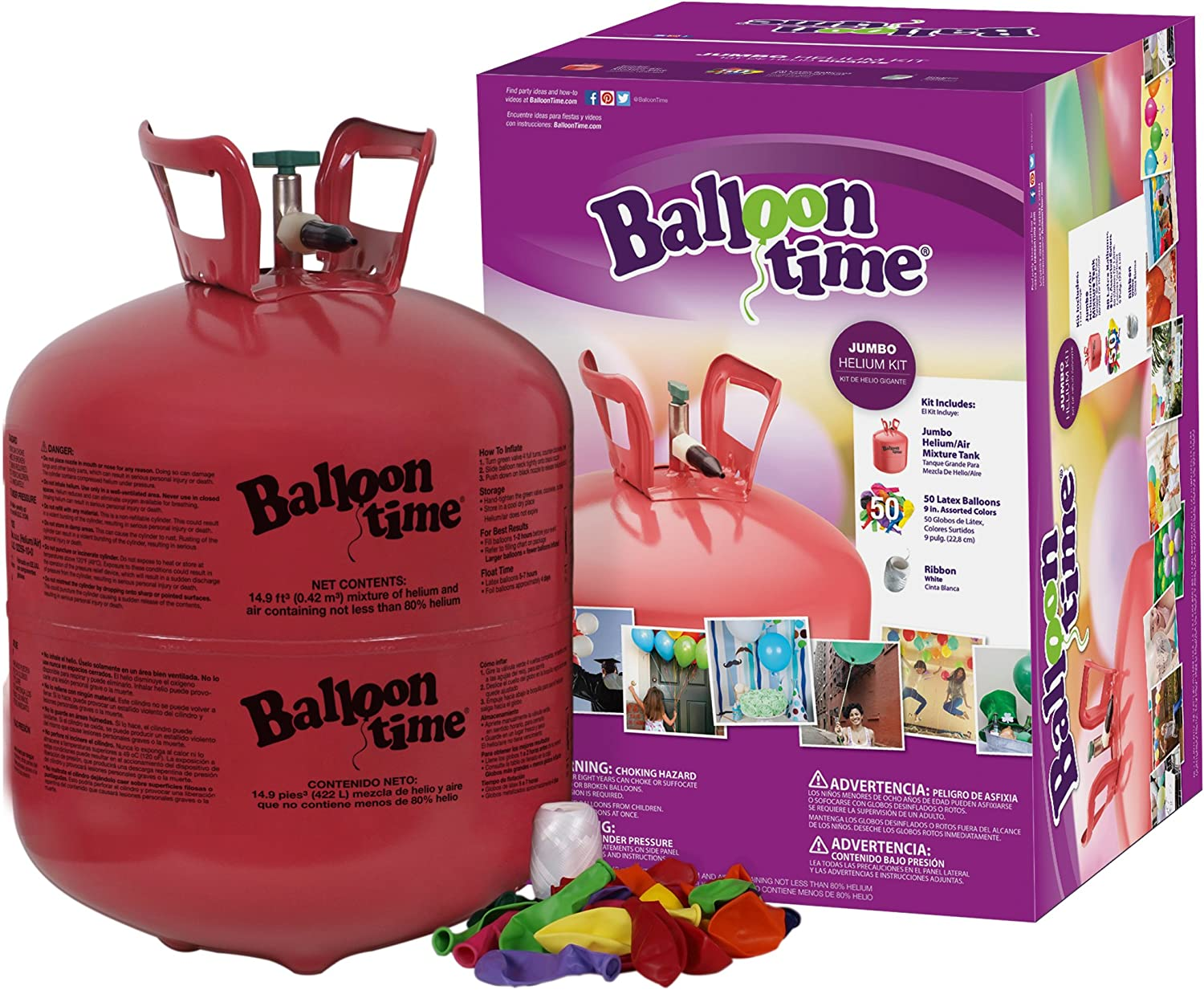 Blue Ribbon Balloon Time Disposable Helium Tank 14.9 cu.ft - 50 Balloons and Ribbon Included: Toys & Games