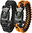 A2S Paracord Bracelet K2-Peak – Survival Gear Kit with Embedded Compass, Fire Starter, Emergency Knife & Whistle – Pack of 2 - Quick Release Slim Buckle Design