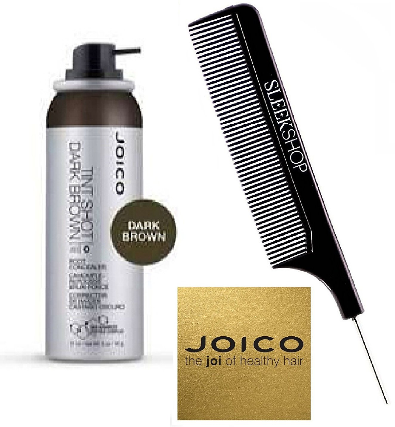 Joico TINT SHOT Root Concealer, Bio-Advanced Peptide Complex (with Sleek Steel Pin Tail Comb) (Dark Brown, 2 oz)